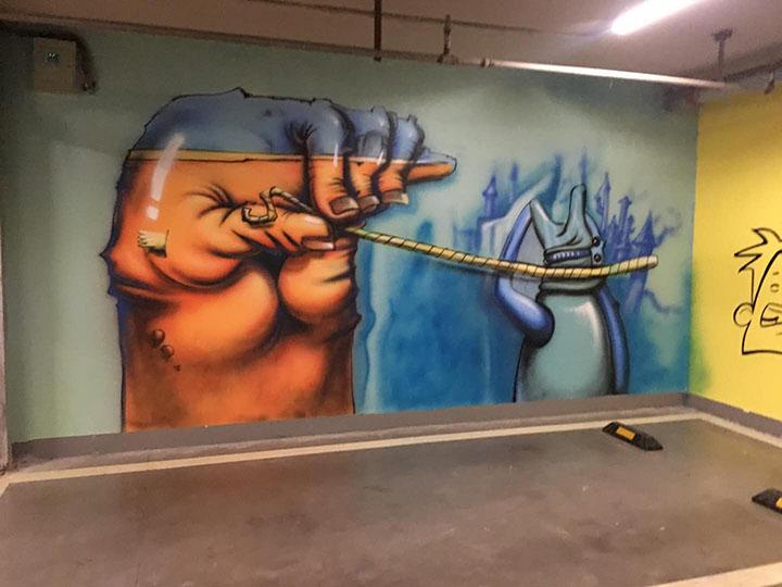南京德基地下停车场彩绘工程--涂鸦篇